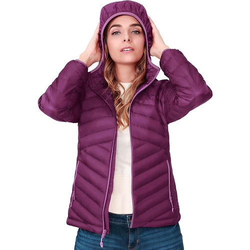 Women's Lightweight Hooded Down Jacket Packable Puffer Insulated Coats - CAMEL