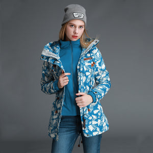Women's 3 In 1 Printing Hooded Jacket - CAMEL
