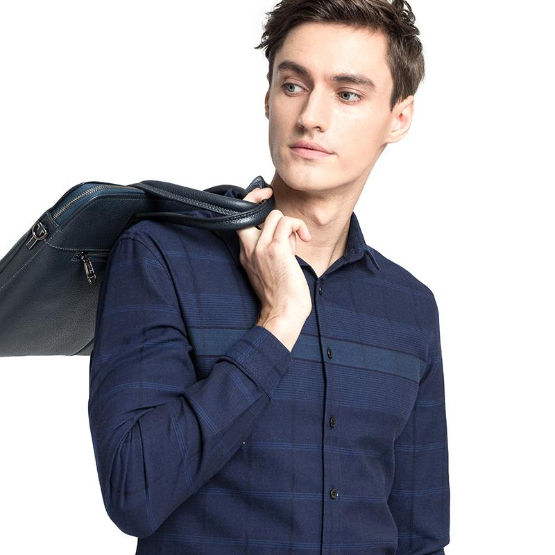 Men's Slim Jacquard Plaid Shirt in Midnight Blue - CAMEL