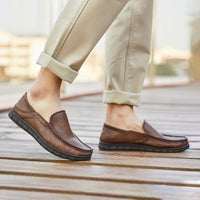 Men Classic Casual Leather Shoes - CAMEL