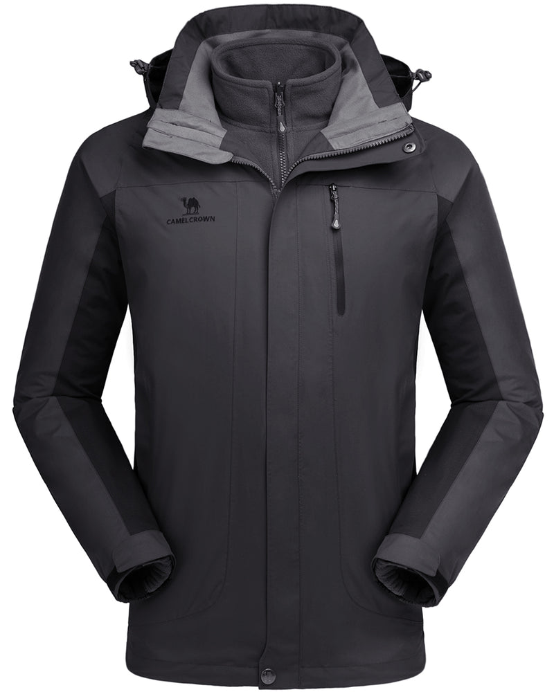 Men's Ski Jacket 3 in 1 Waterproof Winter Jacket Snow Jacket Windproof Hooded with Inner Warm Fleece Coat