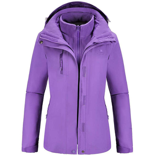 Outdoor Ski Jacket WomenWindbreaker 3 in 1 Waterproof Hooded Coat - CAMEL