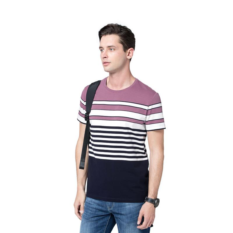 Men's Striated Casual T-Shirt - CAMEL