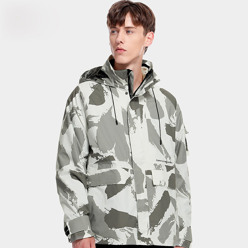 2 Piece Men's Camouflage Jacket 3 in 1 Detachable Polar Fleece Liner Windproof and Waterproof Tide Brand Printed Coat