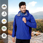 Men's Ski Jacket 3 in 1 Waterproof Winter Jacket Snow Jacket Windproof Hooded with Inner Warm Fleece Coat - CAMEL