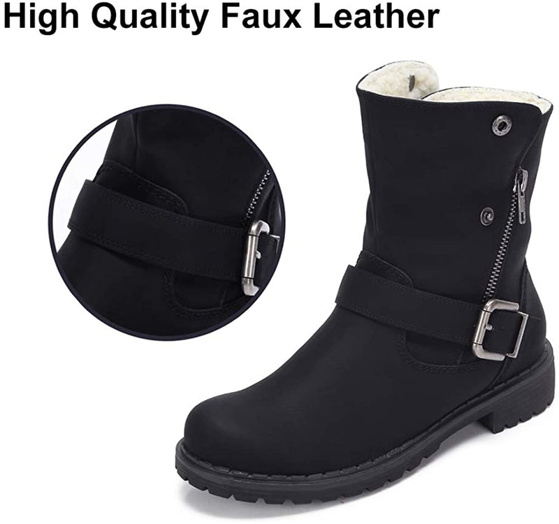 Wide Calf Boots for Women Round Toe