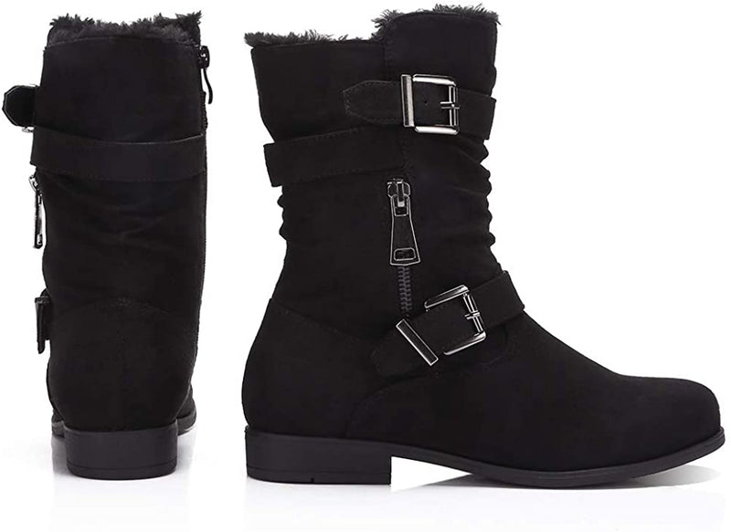 (US Only) Women's Winter Boots Round Toe Low Heel Classic Casual Fashion Mid Calf Boots Buckle Zipper