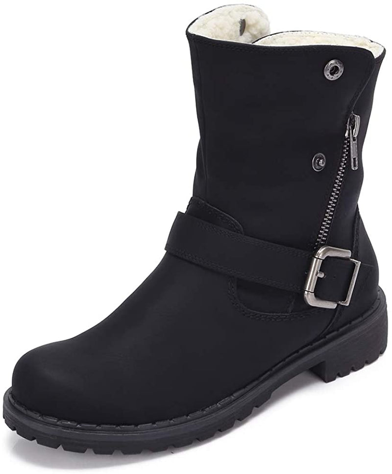 (US Only) Wide Calf Boots for Women Round Toe Leather Combat Boots with Zipper, Buckle Strap