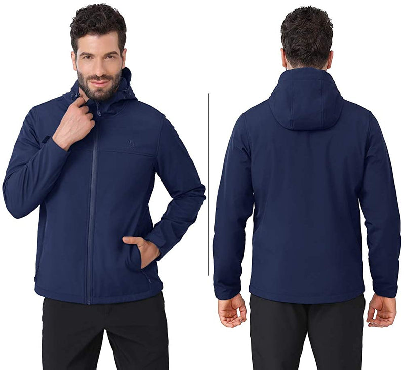 Men's Softshell Jacket Hooded Fleece Lined Windproof Coat for Hiking - CAMEL