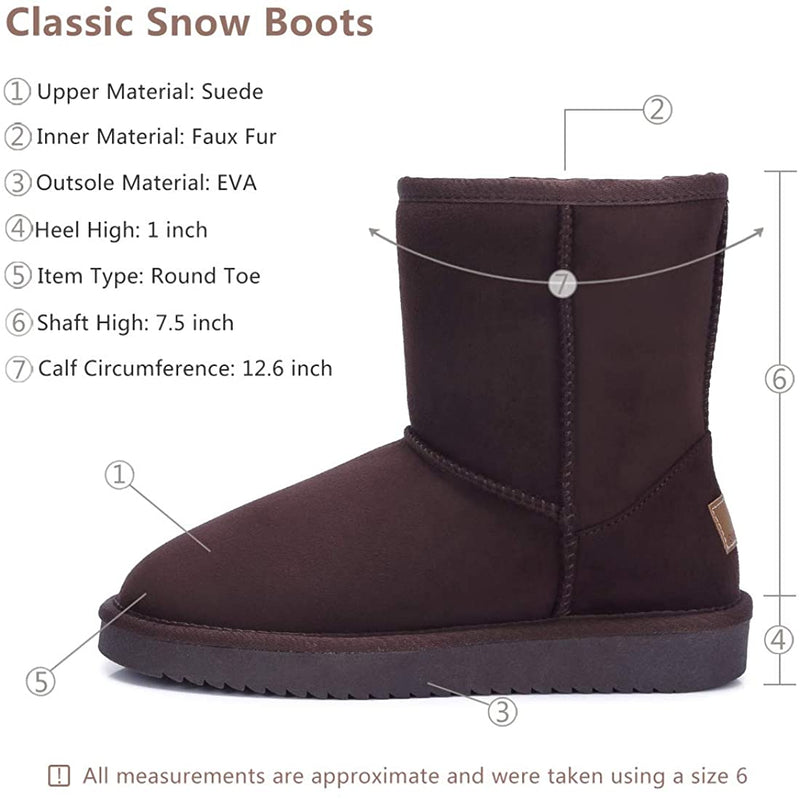 (US Only) Women's Warm Winter Boots Ankle High Classic Vegan Suede Faux Sheepskin Shearling Snow Boots