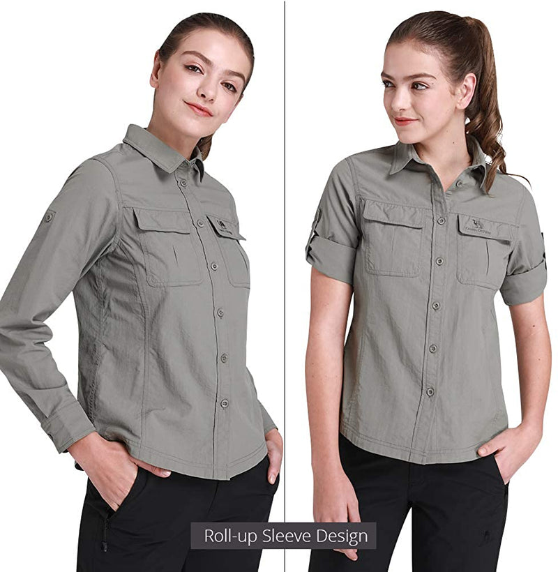 Women's Quick Dry Shirt Long Sleeve Roll-Up Shirts UV Protection for Work Outdoor Hiking Fishing