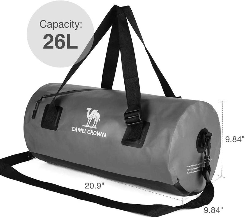 26L Large Capacity PVC Waterproof Sport Duffel Travel Bag for Gym, Swimming Kit, Shoes, Weekend, Overnight Trip 53x25x25 CM