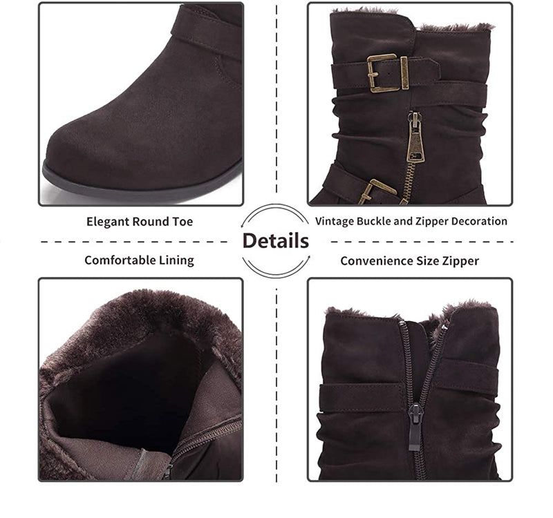 Women's Winter Boots Round Toe Low Heel Classic Casual Fashion Mid Calf Boots Buckle Zipper