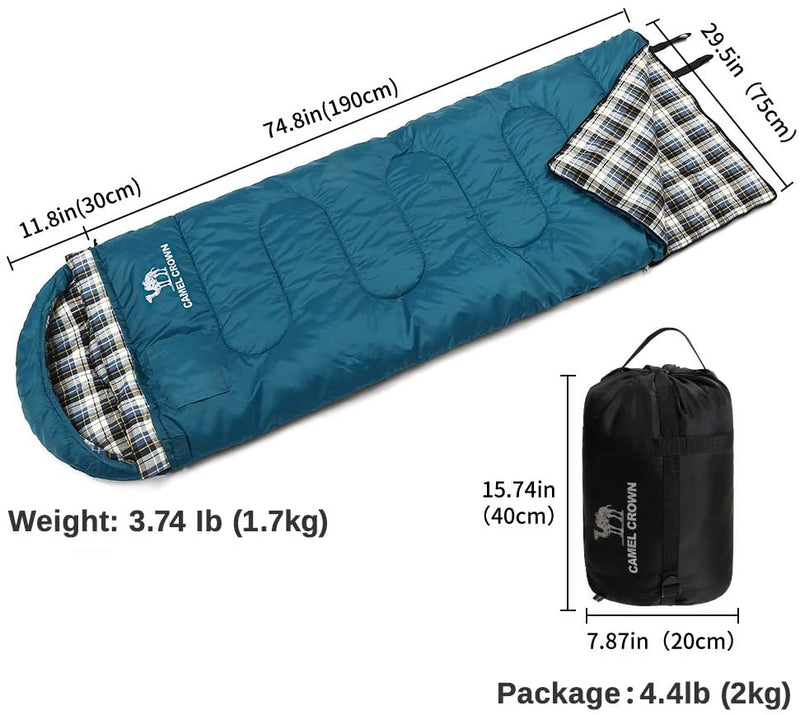 Camping Bag Sleeping Bag - 4 Seasons Warm Cold Weather, Portable, Backpacking Hiking Sleeping Bag with Pillow for Camping & Outdoor Adventures