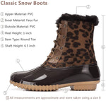 (US Only) Women's Winter Snow Boots Warm Fur Waterproof Anti-Slip Rain Boots Lace Up Mid Calf Duck Boots