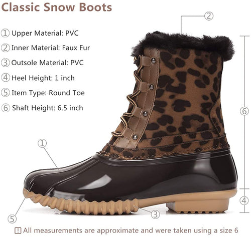 Women's Winter Snow Boots Warm Fur Waterproof Anti-Slip Rain Boots Lace Up Mid Calf Duck Boots
