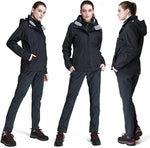 Women's Ski Jacket Waterproof 3 in 1 Windproof Fleece Hooded Coat