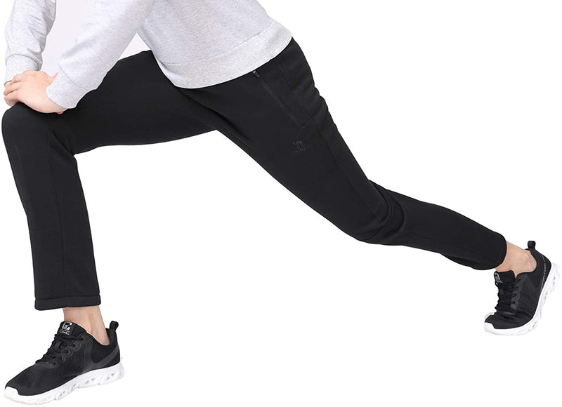 (US Only) Women's Sweatpants Fleece Pants Jogger - Lounge Pants Women Jersey Black Trousers Drawstring Pants with Zipped Pockets