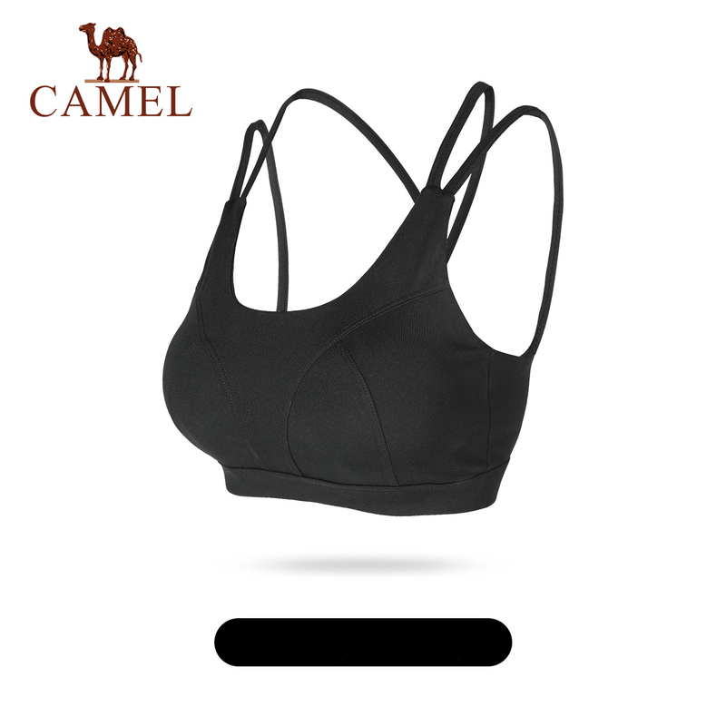 Women's Solid Criss Cross Back Sports Bra - CAMEL
