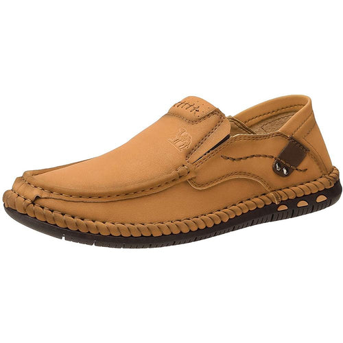 Men's Comfortable Oxford Loafers Lightweight Soft Casual Slip-on Shoes for Outdoor Hiking Walking - CAMEL
