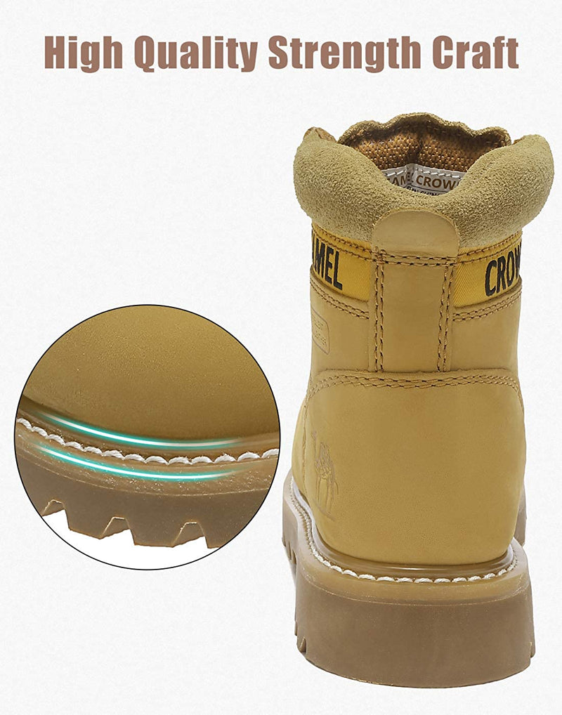 (US Only) Women's Leather Work Boots Hard Toe Work Shoes Industrial Construction Shoes for Outdoor - CAMEL CROWN