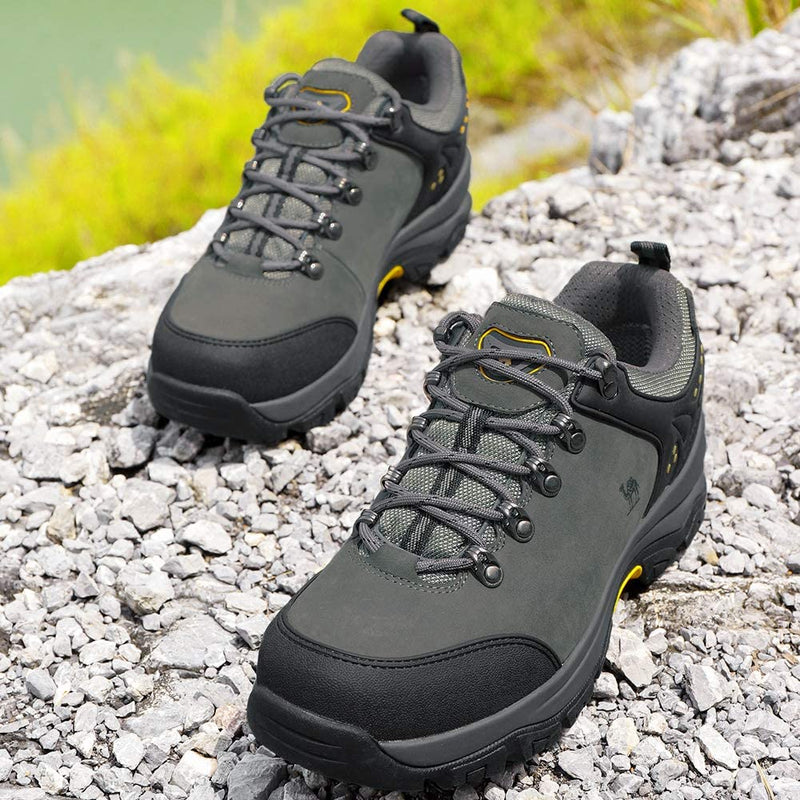 (US Only) Men's Hiking Shoes Low Top Trekking Boots Non-Slip Walking Sneakers for Outdoor Work Trail Casual