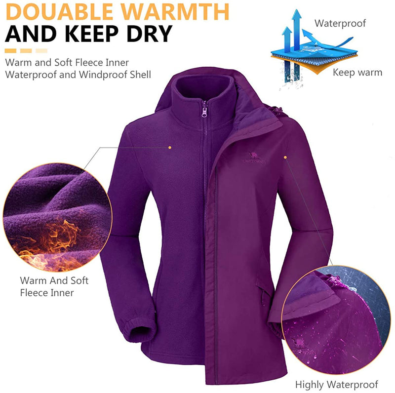 Women's Ski Jacket Waterproof 3 in 1Windproof Fleece Hooded Coat - CAMEL