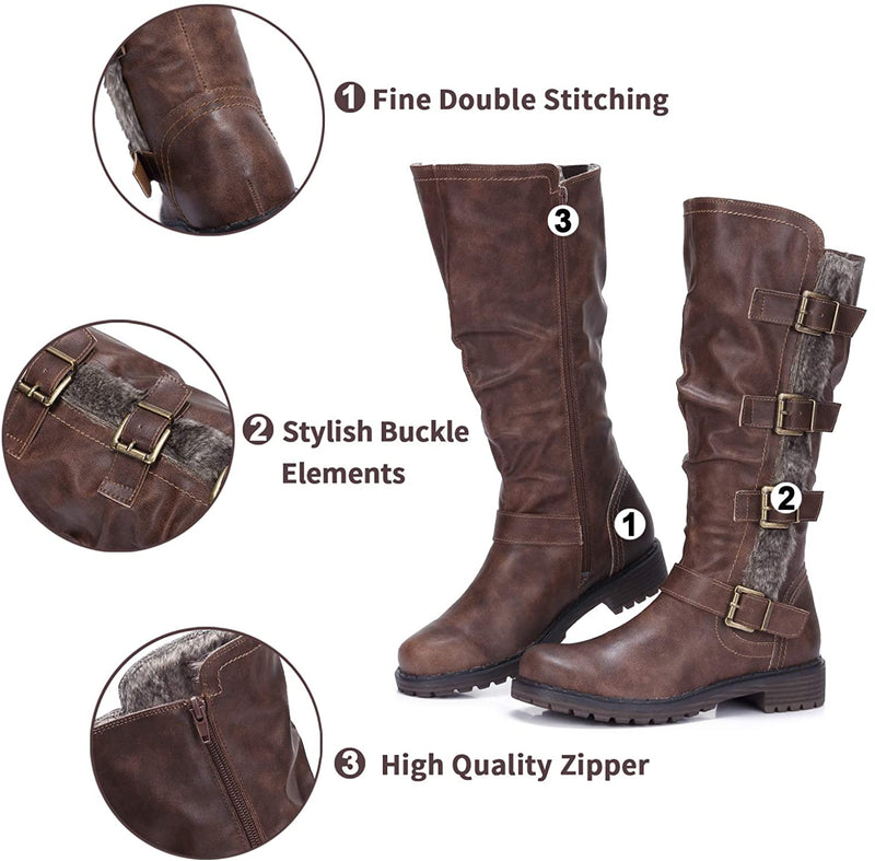 Mid Knee High Boots for Women Wide Calf Low Heel Winter Boots with Zipper, Fur