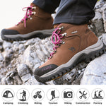 Women's Nubuck High Top Hiking Shoes Durable Anti-Slip Warm Outdoor Climbing Trekking Military Tactical Boots