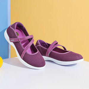 Women's Casual Mesh Shoes With Velcro Straps - CAMEL