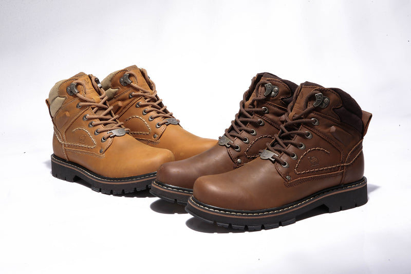 (US Only) Men's Leather Work Boots Safety Shoes
