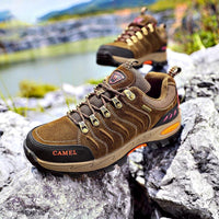 Men Cowhide Upper Hiking Shoes - CAMEL
