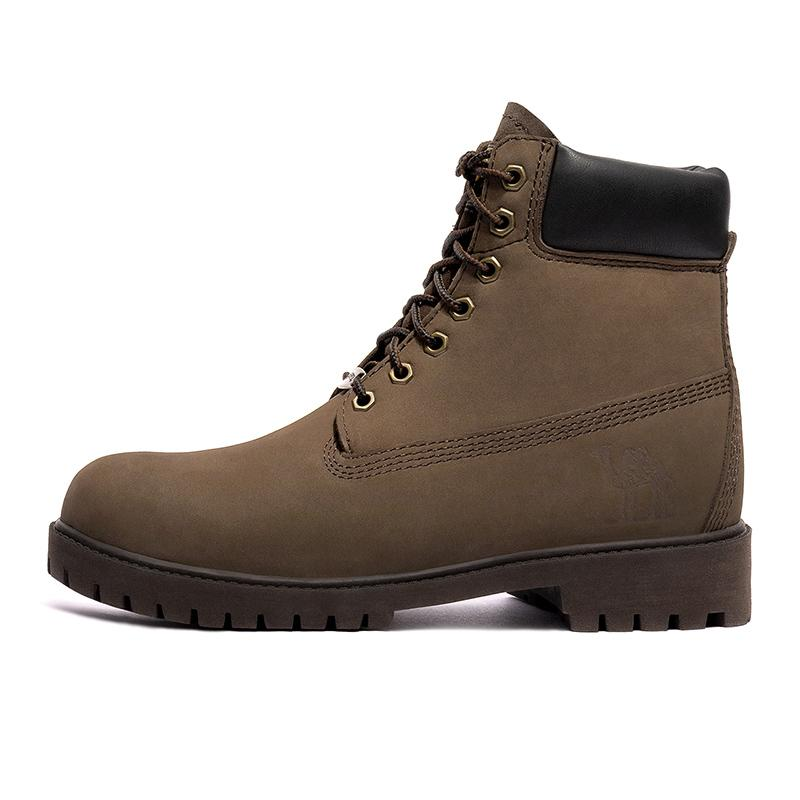 Men Leather High Top Work Boots - CAMEL CROWN