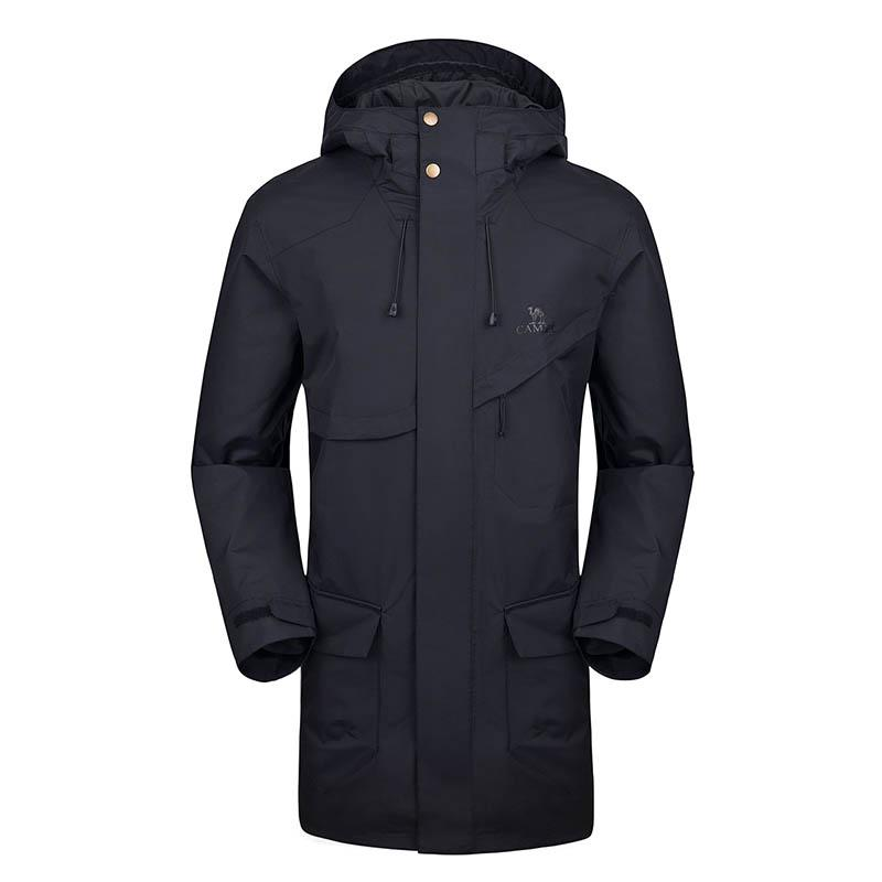 Men's Waterproof Hooded Long Jacket - CAMEL CROWN