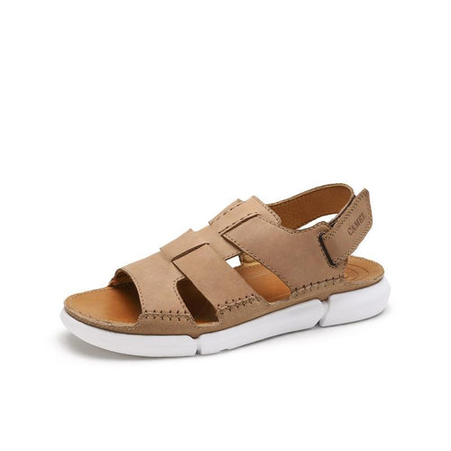 Men's Leather Sandals With Velcro Straps - CAMEL