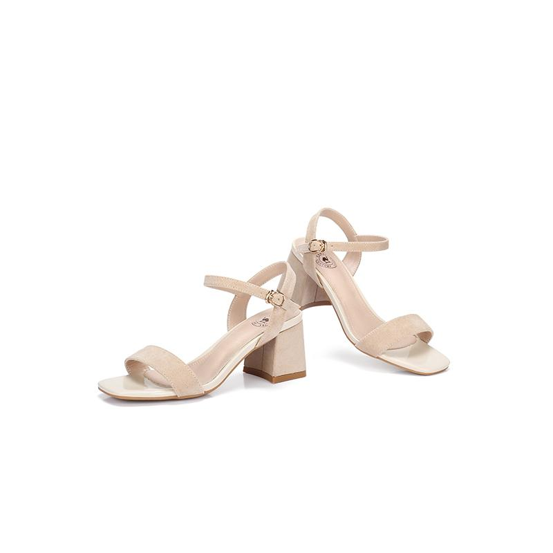 Women's Ankle-Strap Suede Leather Sandals - CAMEL