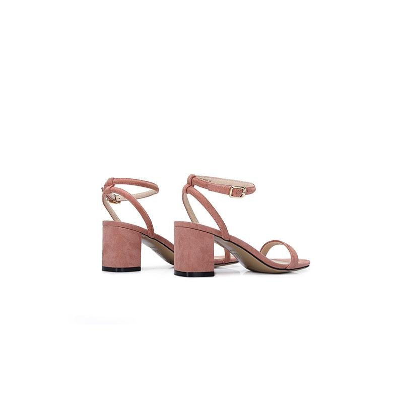 Women's Sheep Suede Ankle-Strap Leather Sandals - CAMEL