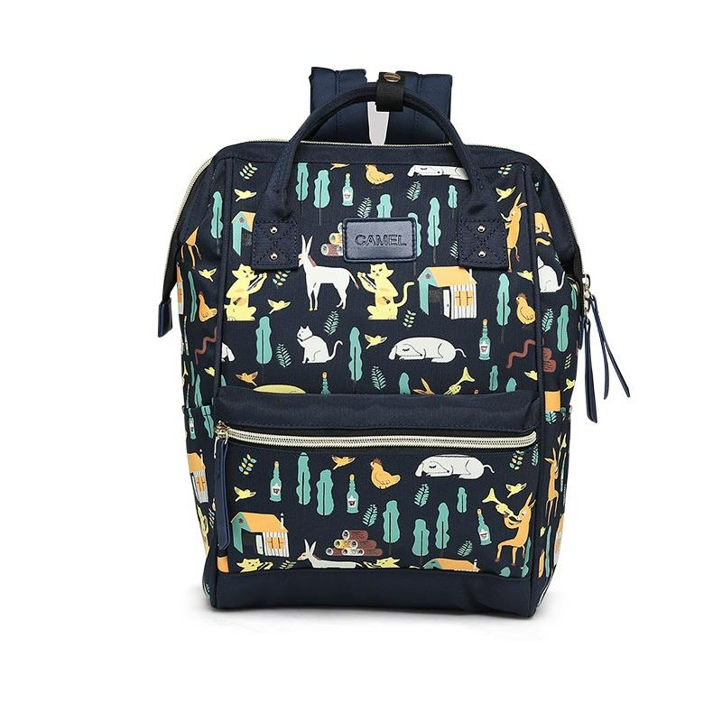 Classic Lightweight Backpack Animal Printing Cute Bag - CAMEL