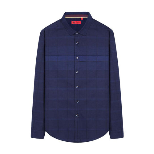Men's Slim Jacquard Plaid Shirt in Midnight Blue - CAMEL CROWN