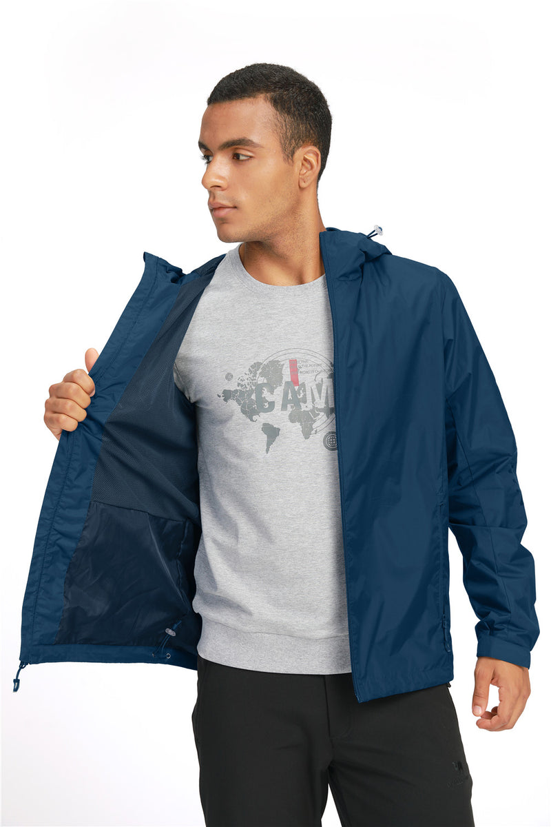 Men's Waterproof Lightweight Packable Rain Jacket