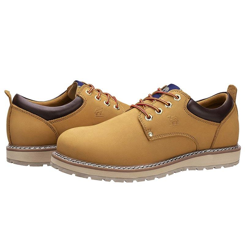 Men's Cowhide Leather Low-Cut Work Boots - CAMEL