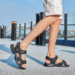 Men's Breathable Genuine Leather Casual Beach Sandals - CAMEL