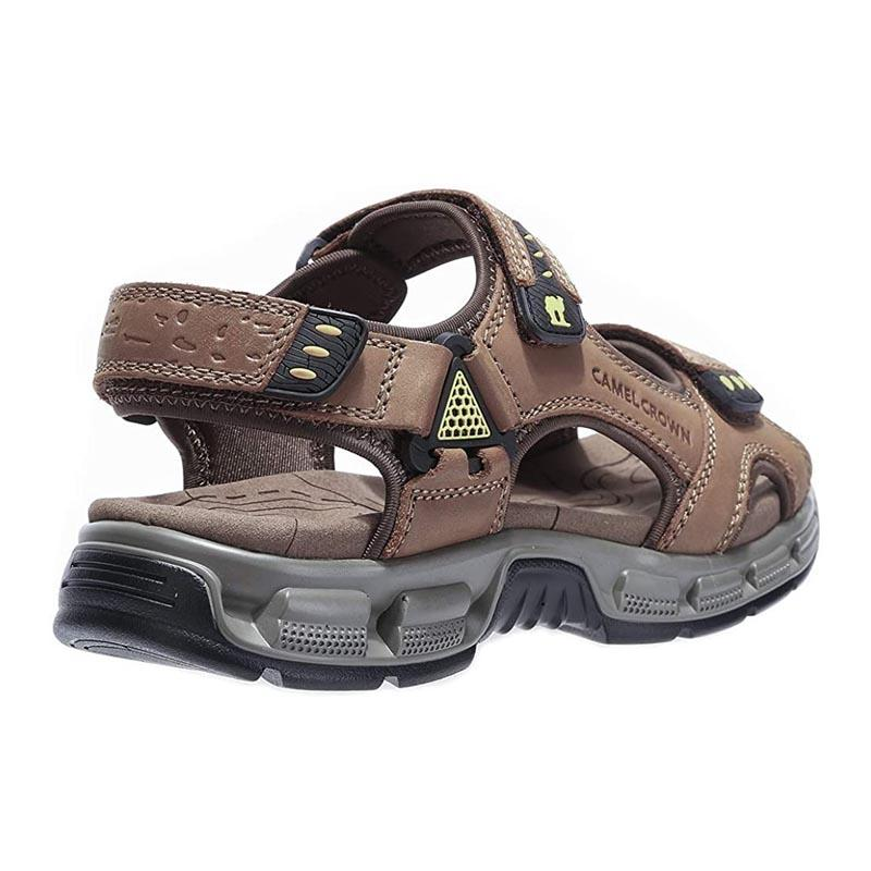 Men's Genuine Leather Open Toes Sport Sandals - CAMEL