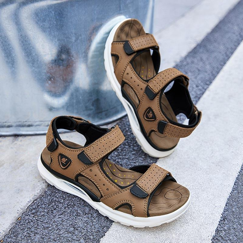 Men's Genuine Leather Sport Sandals - CAMEL
