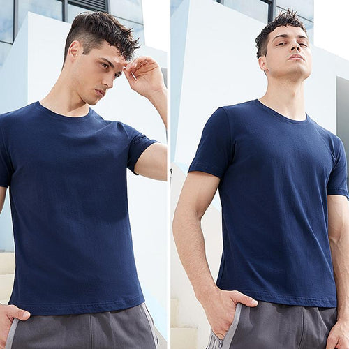 Men's Slim Fit Pure Cotton Breathable T-shirt Short Sleeve - CAMEL