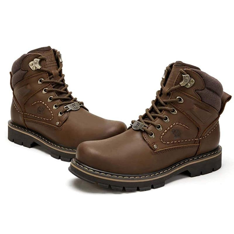 Men's Work Boots Leather Safety Shoes - CAMEL