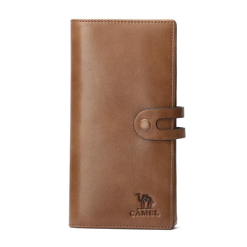 Men's Bifold Leather Long Wallet in Brown - CAMEL