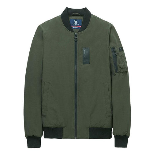Men's Solid Bomber Jacket - CAMEL