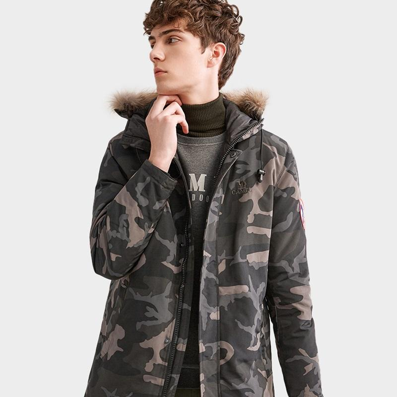 Men's Camouflage Fashion Long Duck Down Jacket - CAMEL