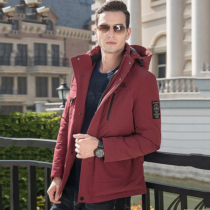 Men's Duck Down Fashion Jacket with Removable Hood - CAMEL